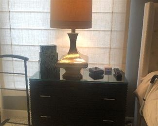 Lamp and 2 matching bedside tables - Restoration Hardware