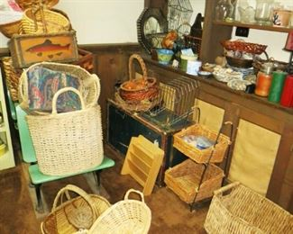 Large assortment of woven baskets, misc. decor, vases, candles, planters
