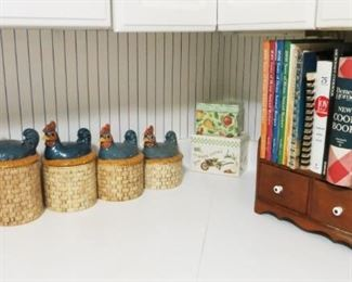 Chicken canister set, wooden box/shelf, cookbooks, tin recipe boxes