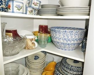 Misc. dishes, dinnerware, sponge ware bowl