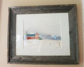 Hand painted & signed picture, barn wood frame