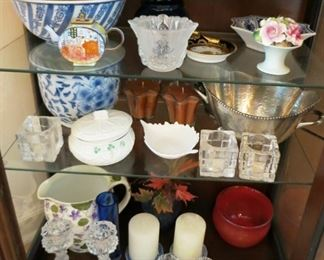 Misc. porcelain, glassware, decorative items