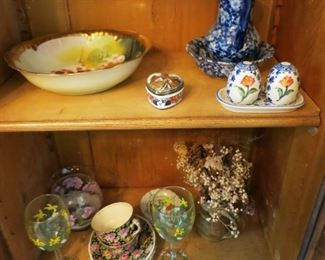 Hand painted bowl, misc. pottery & porcelain items