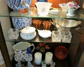 Collectible glass ware, candle sticks, porcelain pitcher, ceramic blue & white collectibles, silver plate bowl, etc.