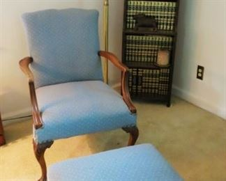 Upholstered chair w/ ottoman, bookcase w/ antique & vintage books, Encyclopedia set, floor lamp