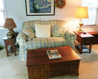 Love seat, side tables, coffee table w/ storage, lamps, prints, etc.