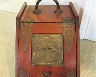 Antique wooden coal box w/ brass design & hinges