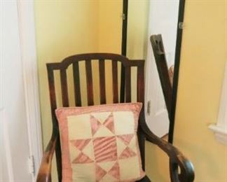 Antique rocking chair, wall mirror