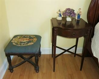Vintage stool w/ stitched top, drop down side table w/ drawer