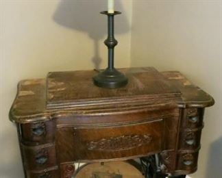 antique sewing machine, lamp
