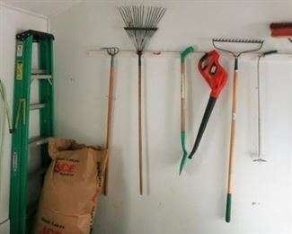 Ladder, lawn tools, etc