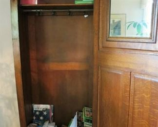 Inside of antique wardrobe