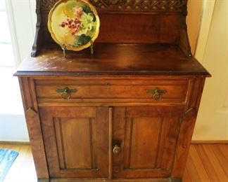 Antique chest, hand painted bowl