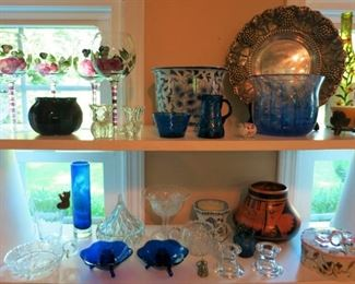 Misc. glassware, porcelain, silver plate items