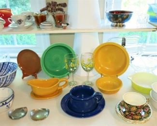 2 larger vintage Fiesta bowls, one small Fiesta bowl, Russel Wright plate, misc. glassware & porcelain items