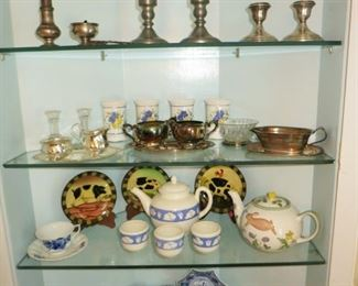 Sterling silver items, pewter candle holders, misc. ceramic, porcelain items including Delft, Occupied Japan child's dishes