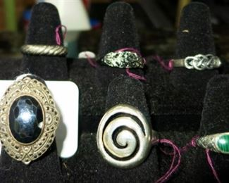 Sterling & unmarked costume rings