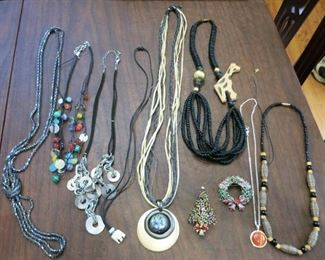 Costume necklaces, Christmas pins