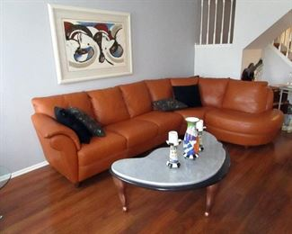 Natuzzi sectional  - custom coffee table