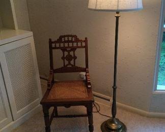 Eastlake chair and lamp
