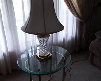 Round Glass Top Brass Table with Cut Leaded Glass Lamp with Brass Detailing