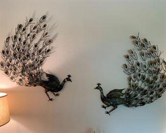 Vintage Peacock Metal Wall Art