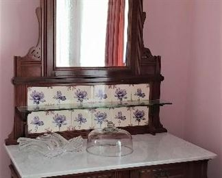 Antique Walnut ServerSideboard with Purple Lotus Flower Tiles and Marble Top