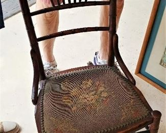 Antique Childs Rocking Chair with Needlepoint Seat,