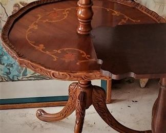 1 of 2 Matching 2Tier Pie Tables  with Fluted edges and Inlaid Design,