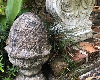 Concrete garden bench and statuary