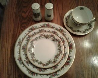 R.H. Macy & Co. Royal Gallery Holly and Ivy Christmas China.  10 full 5 piece place settings with extras and serving pieces