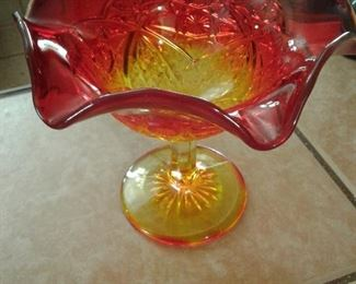 Amberina glass candy dish
