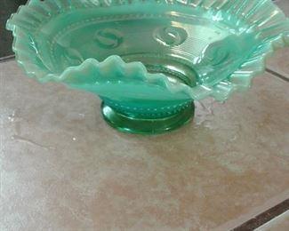 Antique Fenton green moon glow bowl