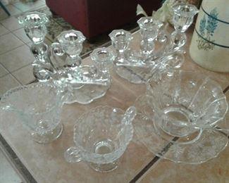 Cambridge glass Rose Point glassware