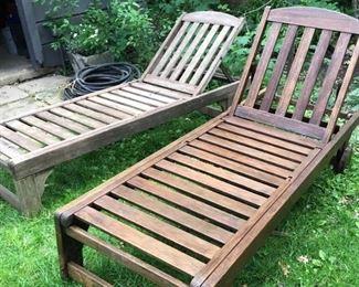 teak chaise lounges
