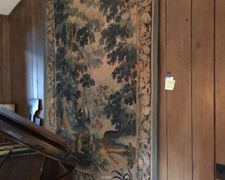 "a wall mounted 74"" x 108"" Antique Handwoven tapestry believed to be late 19th century French Verdure Aubusson"
