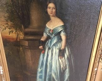 "An 18th century portrait of a young woman in a floor length blue satin dress, antique 26"" by 17"" oil painting on canvas in fine condition with craquelure  in a period gessoed frame with many losses"