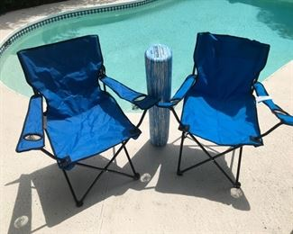 Foldable chairs and pool float
