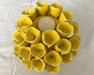 Ceramic floral tealight holder
