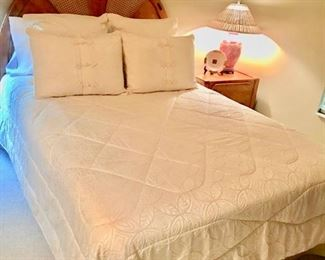 Queen sized bed mattress, box spring, frame and headboard