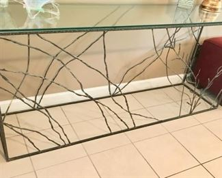 "One of a kind metal console with glass top                                 69"" x 17 1/2 x 30 1/2"""