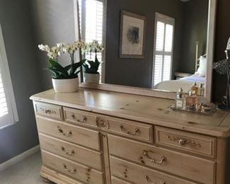 """Blonde wood dresser with mirror 66 1/2"""" x 19"""" x 33""""      Mirror is 49 1/4"""" x 35 1/4"""""""