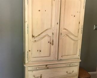 "BLonde wood armoire 40"" x 19 1/2"" x 82""                               Matching long dresser available with mirror"