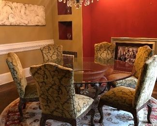 """Fabulous dining room suite.  Glass-topped table (72"""") seats 8-10 comfortably.  Circular table is a boon for dinner conversation!  Whether you have 4 or 10 for dinner, everyone can talk with everyone at the table."""