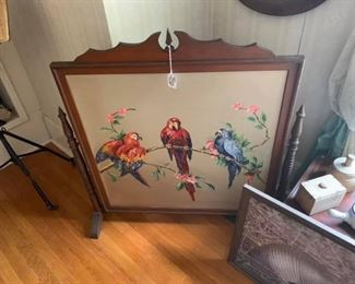 Parrot painting, old butter molds
