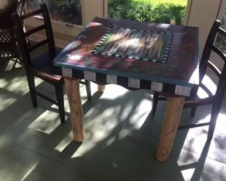 STICKS HAND PAINTED ECLECTIC FOLK ART GAME TABLE