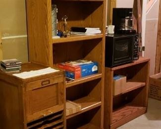 Office supplies and book shelves