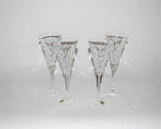 Set of 4 Waterford Crystal Toasting Flutes