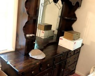 Large Dresser With Hutch And Mirror