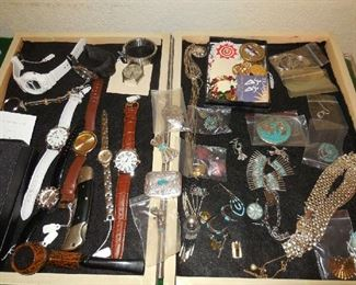 Sterling and Turquoise jewelry, many watches, quality costume jewelry